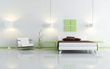 Fototapety modern green and white bedroom