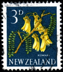 New Zealand. Kowhai. Timbre postal oblitéré.