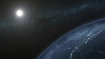 Close-up view of Earth. Night scene - HD 1080p clip