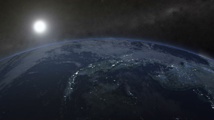 Close-up view of rotating Earth. Night view HD 1080p clip