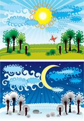 summer winter background vector
