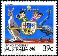 Australia. living Together. Tourism. Timbre oblitéré.