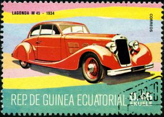 Rep de Guinea Ecuatorial. Lagonda M45 1934.Timbre postal