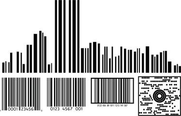 Barcode Illustrations Including NY CIty Skyline Barcode