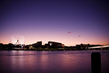 Wheel & River at Sunset