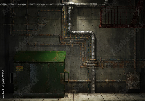 grungy pipes and dumpster background