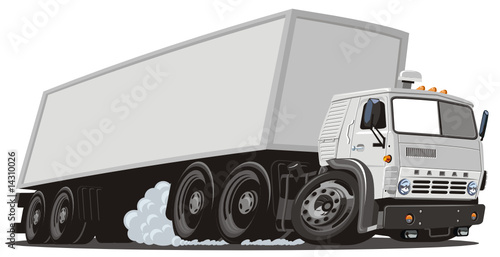 Vector cartoon cargo semi truck