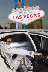 Elvis impersonator in limo in Las Vegas, Nevada, USA