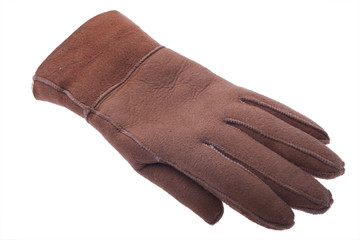 single warm leather glove on white