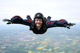 Close up of a skydiver in freefall