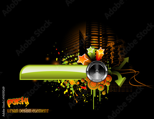 urban music design with speaker and graphic elements