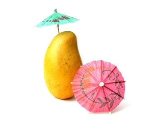 Tropical Mango and two colourful parasols