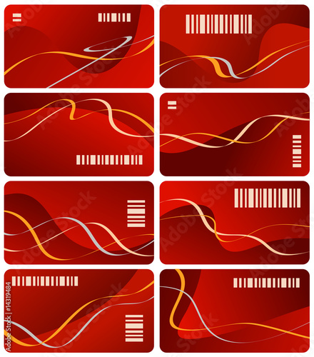Eight business cards red color with bar code