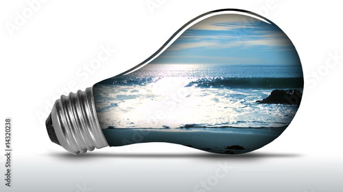 Renewable energy light bulb ocean waves - HD