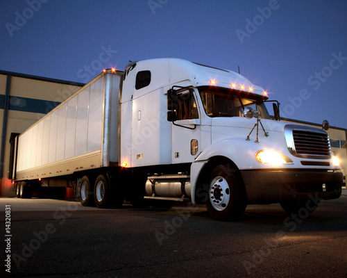 Semi Truck / Tractor Trailer at dock night view - 14320831