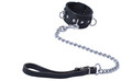 Black leather collar with the leash on white background