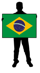 vector illustration of a  man holding a flag of brazil