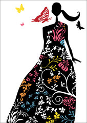 elegant woman in dress with abstract pattern