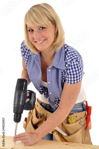 handwerkerin mit akkuschrauber von dan race lizenzfreies foto 14331457 auf. Black Bedroom Furniture Sets. Home Design Ideas