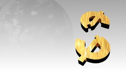 Broken dollar showing recession concept