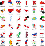 vector isolated asian flags in map shape