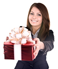 Beautiful girl in business suit  with gift box.