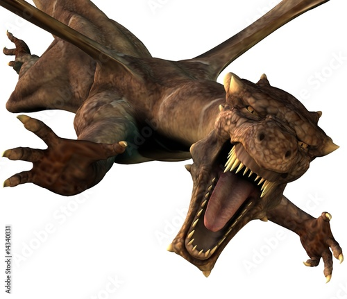 Deadly Dragon Attack 3D Illustration