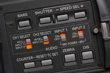 buttons on the professional camcorder
