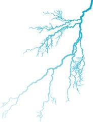 blue lightning on white