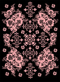 pink symmetric pattern with flowers poster