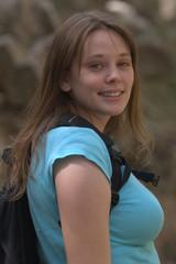 Beautiful girl hiking