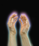Outstretched healing hands poster