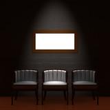 Three chair with empty frame in dark minimalist interior poster