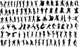 Fototapety silhouettes of dancing people