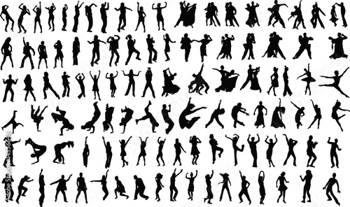 silhouettes of dancing people - 14356646