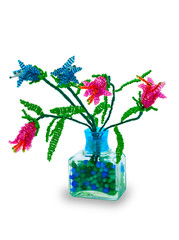 Vase with flowers from glass beads