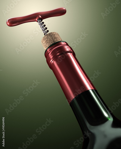 Wine. Close of corkscrew ready to take off the cork from bottle.