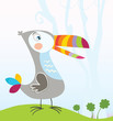 roleta: Tropical jungle scene with Toucan. Vector Illustration.