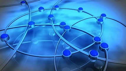 Animation réseau 3D fond bleu