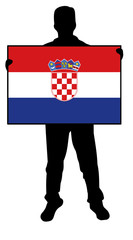 vector illustration of a  man holding a flag of croatia