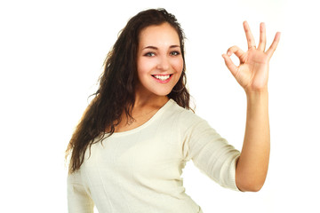 woman showing the OK sign