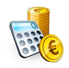 Calculatrice et pièces euros