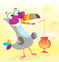 Beach party. Exotic bird character. Vector Illustration.