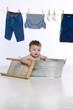 little boy in wash tub