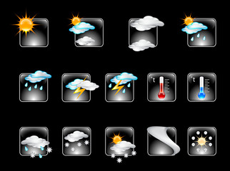 Weather Forecast Glossy Vector Icon Set v.01