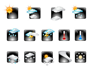 Weather Forecast Glossy Vector Icon Set v.02