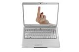 "Isolated Laptop Screen and a hand showing ""the finger"""