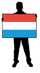 vector illustration of a  man holding a flag of luxembourg