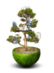 Magic Tree with city placed on it