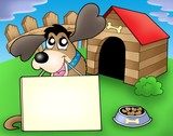 Dog with sign in front of kennel poster